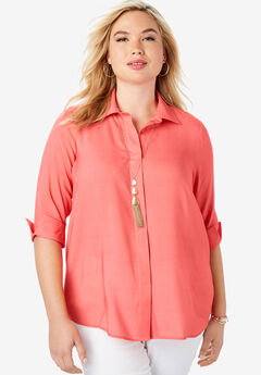 Soft Button Front Shirt, SUNSET CORAL