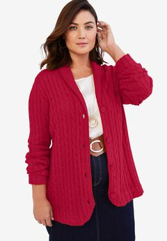 Cable Blazer Sweater, CLASSIC RED