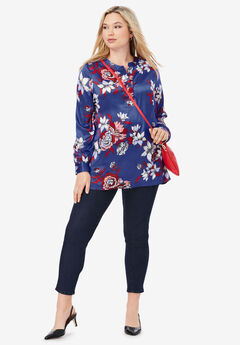 Silky Placket Front Blouse,