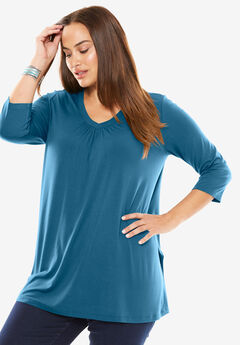 V-Neck Pleat Front Tunic,