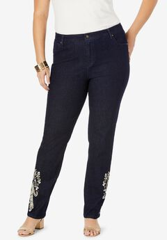 True Fit Straight Leg Jeans, IVORY PAISLEY EMBROIDERY