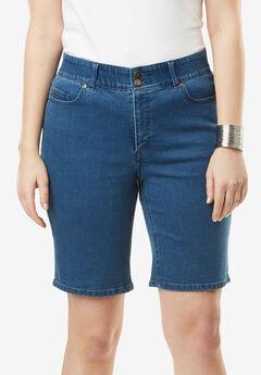Tummy Control Denim Shorts, MEDIUM STONEWASH
