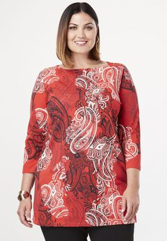 Refined Boatneck Tunic with Goldtone Buttons, BRIGHT RUBY PAISLEY