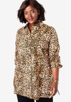 Long Sleeve Collared Poplin Tunic, WHITE LEOPARD