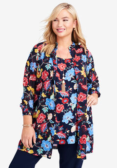 Georgette Button Front Tunic, NAVY FOLK FLORAL