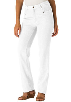 Classic Cotton Denim Straight Jeans, WHITE