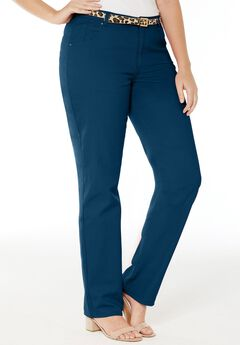 Classic Cotton Denim Straight Jeans, TWILIGHT TEAL