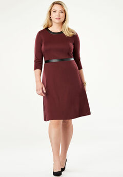 Leather Trim Dress,