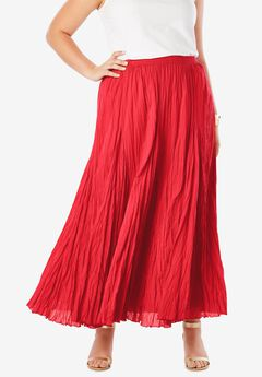 Cotton Crinkled Maxi Skirt, CORAL RUBY