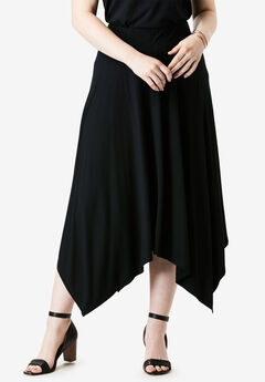 Asymmetrical Midi Skirt, BLACK