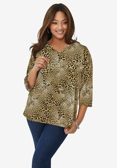 V-Neck Tee, NEUTRAL LEOPARD