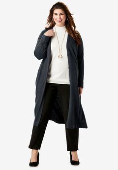 Fine Gauge Duster Sweater, BLACK