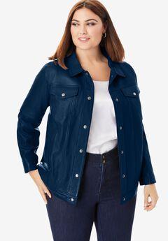Denim Style Leather Jacket, NAVY