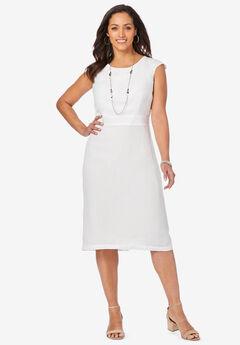 Linen Sheath Dress, WHITE