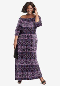 Blouson Maxi Dress, BLACK SCALLOP MEDALLION