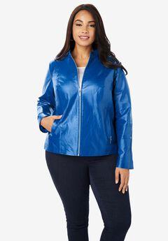 Zip Front Leather Jacket, COBALT BLUE