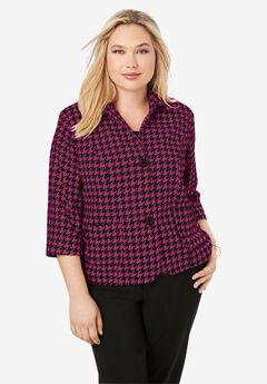 Cropped Blazer, RASPBERRY HOUNDSTOOTH