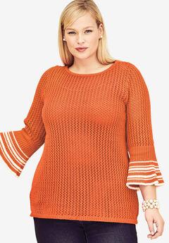Crochet Bell Sleeve Sweater, VIBRANT ORANGE