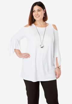 Travel Knit Cold Shoulder Tunic,