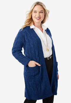 Cable Duster Sweater, EVENING BLUE