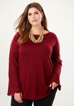 Embroidered Sleeve Sweater,