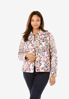 Classic Cotton Denim Jacket, MULTI FOLK IKAT