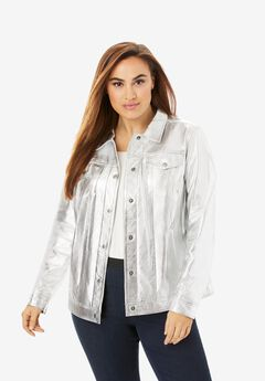 Denim Style Leather Jacket, SOFT SILVER