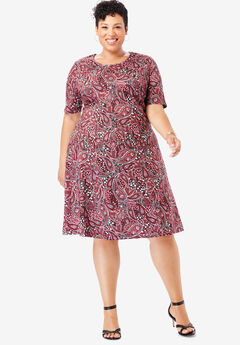 Ponte Flare Dress, BLACK FLOWER PAISLEY