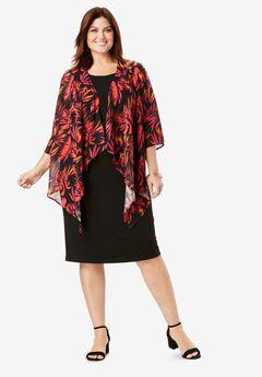 Floral Sleeve Jacket Dress,