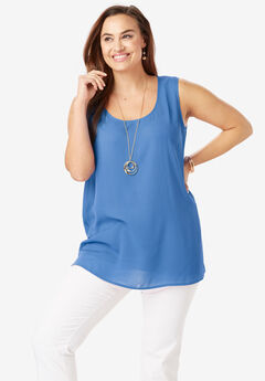 Georgette Tunic Tank, HORIZON BLUE