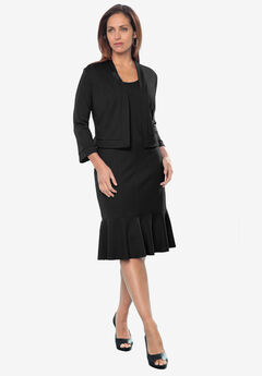 Ponte Jacket Dress, BLACK