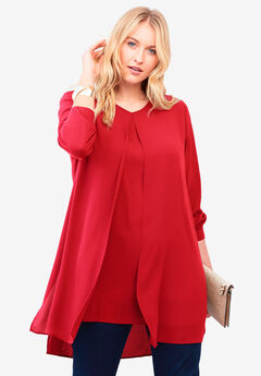 Flyaway V-Neck Tunic, HOT RED