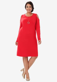 Cold Shoulder Sheath Dress, HOT RED