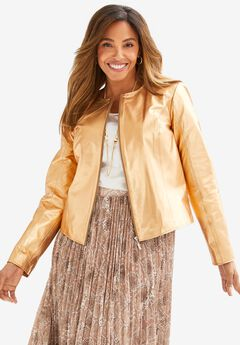 Collarless Leather Jacket, GOLD