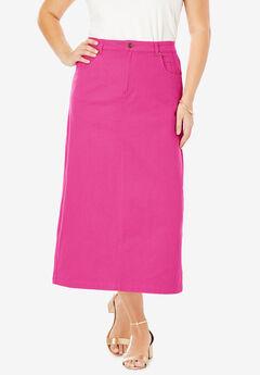 Classic Cotton Denim Long Skirt, TROPICAL RASPBERRY