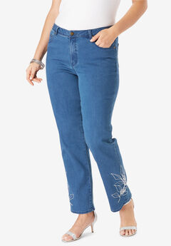 Embroidered Straight Leg Jeans, MEDIUM STONEWASH