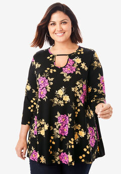 Keyhole Swing Tunic, BLACK BOUQUET