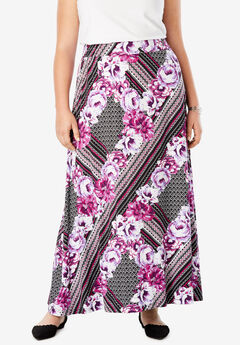 Everyday Knit Maxi Skirt, BERRY SCARF PRINT