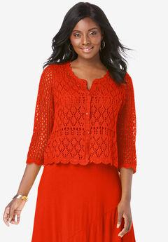 Crochet Sweater, ELECTRIC ORANGE