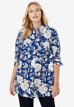 Poplin Tunic, TWILIGHT BLUE FLOWERS