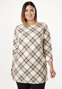 Refined Boatneck Tunic with Goldtone Buttons, IVORY PLAID