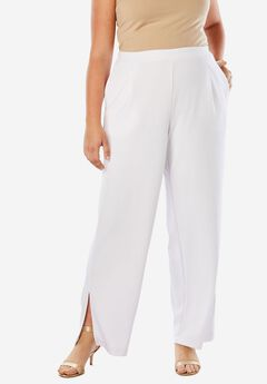Side Slit Wide-Leg Crepe Pant,