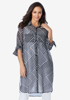 Mega Tunic, BLACK BIAS STRIPE