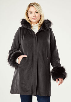 Hooded Faux Fur Trim Coat, BLACK