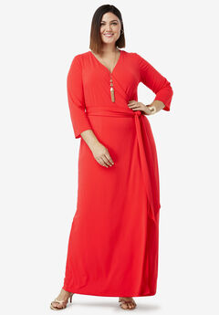 Faux Wrap Maxi Dress, HOT RED