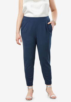 Signature Knit Crepe Tapered Ankle Pant, NAVY