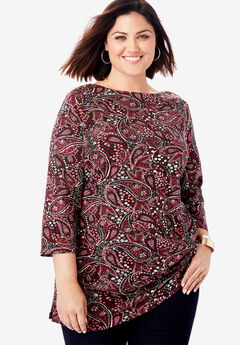 Boatneck Tunic, BLACK FLOWER PAISLEY
