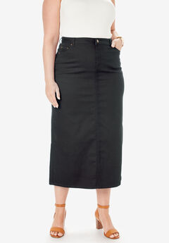 True Fit Denim Skirt, BLACK
