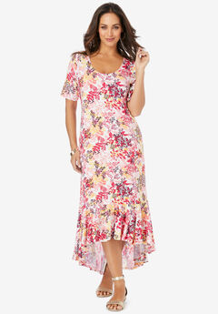 Everyday Knit Flounce Hem Maxi Dress, PINK LEAF