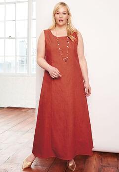 Denim Maxi Dress, BURNT RED